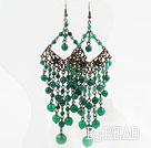 Vintage Style Faceted Green Agate Tassel Chandelier Earrings under $ 40