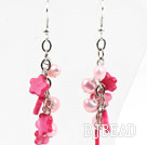 Hot Pink Series Pink Freshwater Pearl and Hot Pink Shell Flower Dangle Earrings