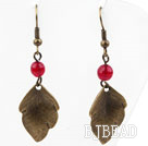 Vintage Style Rose Red Agate Earrings with Bronze Leaves Accessories under $ 40