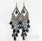 Long Style Tungsten Steel Color Crystal Tassel Earrings