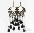 Vintage Style Black Agate Long Earrings under $ 40