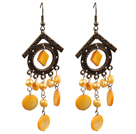 Vintage Style Chandelier Shape Orange Pearl Shell Dangle Earrings