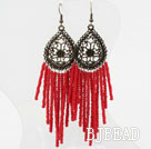 Immitation Red Coral Tassel Long Style Earrings