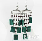 Garnet and Rectangle Shape Manmade Malachite Stone Earrings