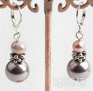 natural pink pearl and sea shell beaded earrings