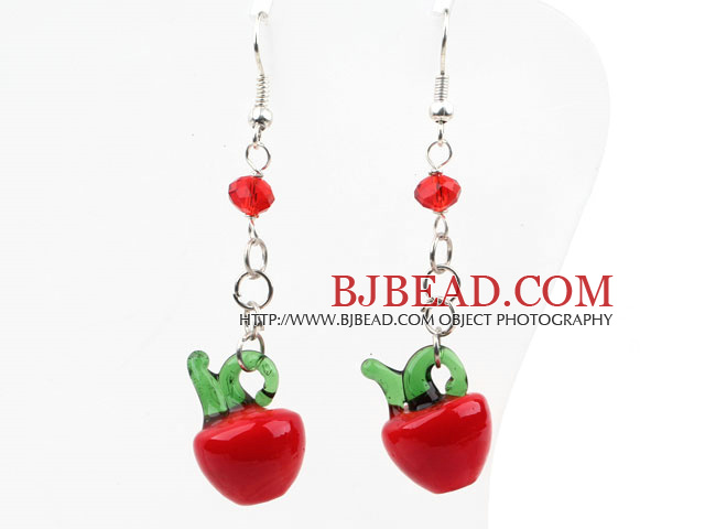 Dangle Style Red Crystal and Red Apple Shape Colored Glaze Charm Earrings