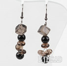 Dangle Style Smoky Quartz and Black Seashell Beads Earrings under $2.5