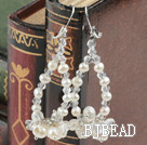 Fashion Style White Freshwater Pearl and Clear Crystal Earrings under $ 40