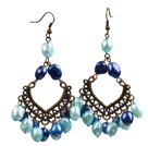Vintage Style 8-9Mm Various Shades Of Blue Pearls Dangle Earrings  under $ 4