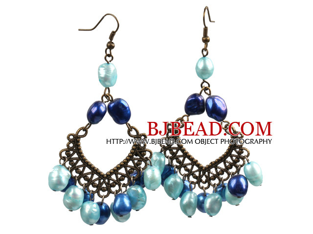 Vintage Style 8-9Mm Various Shades Of Blue Pearls Dangle Earrings