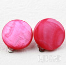 Classic Design Big Style Peach Red Shell Clip Earrings