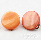 Classic Design Big Style Orange Color Shell Clip Earrings
