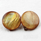 Classic Design Big Style Yellow Brown Color Shell Clip Earrings