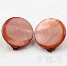 Classic Design Big Style Red Brown Color Shell Clip Earrings