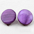 Classic Design Big Style Purple Color Shell Clip Earrings