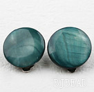 Classic Design Big Style Dark Peacock Color Shell Clip Earrings under $ 40
