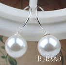 Classic Design Round Shape 10mm White Seashell Beads Earrings