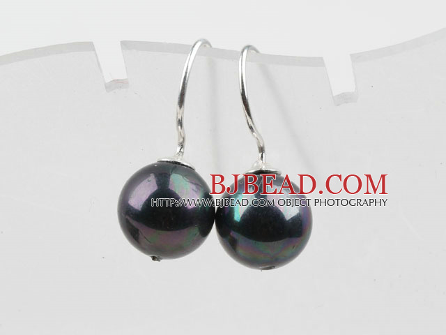 Classic Design Round Shape 10mm Black with Colorful Seashell Beads Earrings