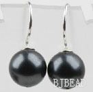 Classic Design Round Shape 10mm Black Seashell Beads Earrings under $ 40