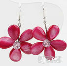 New Design Dyed Peach Pink Shell Flower Spring Earrings under $ 40