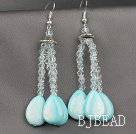 Drop Shape Blue Shell and Clear Crystal Dangle Earrings