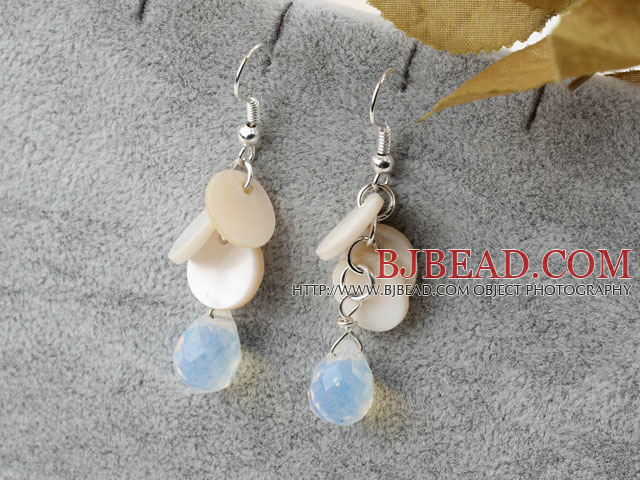 White Shell and Opal Crystal Dangle Earrings