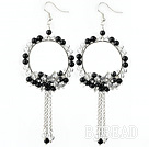 New Style Assorted Clear Crystal and Black Agate Tassel Fashion Earrings
