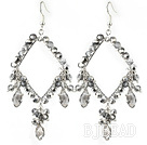 New Style Gray Series Rhombus Shape Gray Crystal Earrings