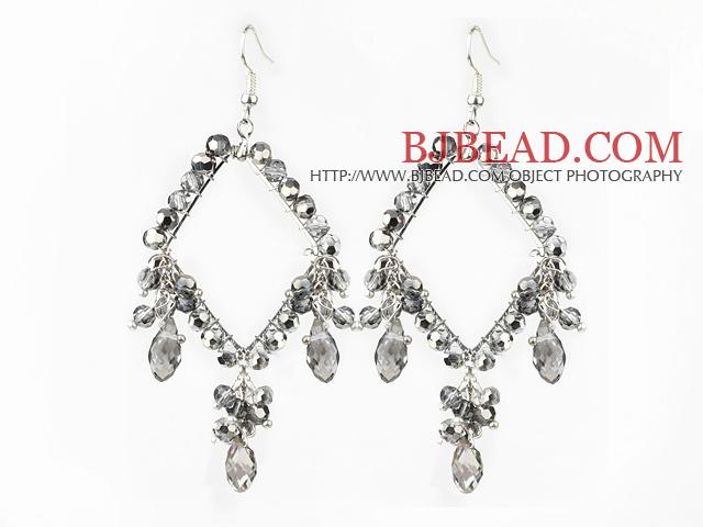 New Style Gray Series Rhombus Shape Gray Crystal Earrings