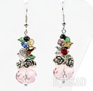 Assorted Multi Color and Pink Manmade Crystal Earrings