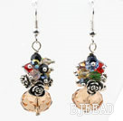 Assorted Multi Color and Amber Color Manmade Crystal Earrings