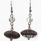 Brown Black Color UPO Shape Volcanic Stone Earrings