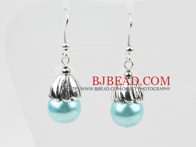 Simple Style Light Blue Color Shell Beads Earrings