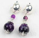 Faceted Round Purple Agate Clip Earrings