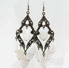 Big Drop Shape White Lip Shell Earrings under $ 40