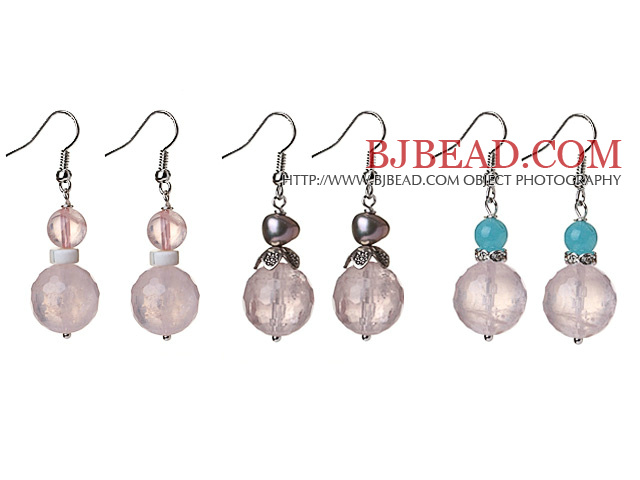 3 Pcs Simple Design Beautiful Faceted Rose Quartz Ball And Pearl And Blue Jade Dangle Earrings