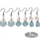 3 Pcs Simple Fashion Irregular Shape Blue Aquamarine And Pearl And Rose Quartz Earrings