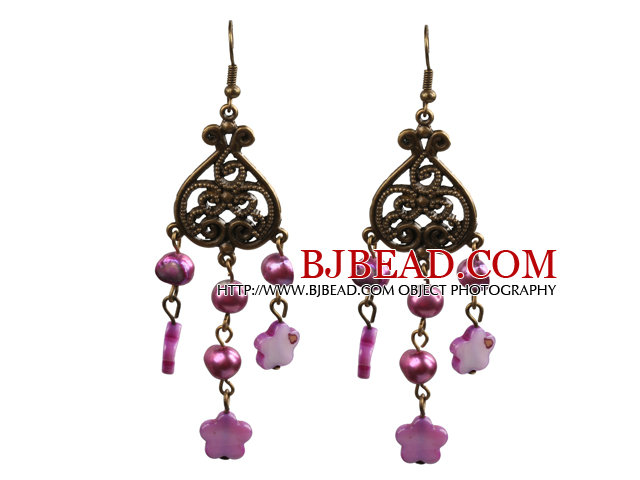 Vintage Style Chandelier Shape Purple Pearl Shell Flower Dangle Earrings With Heart Shape Bronze Accessory