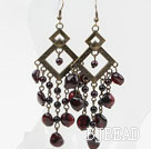 Vintage Style Long Design Assorted Garnet Earrings