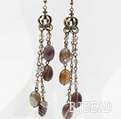 Dangle Style Persia Gray Agate and Crystal Earrings with Crown Accessories