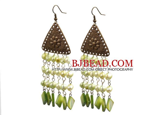 Vintage Tassel Style Light Green Pearl Square Shape Shell Dangle Earrings