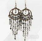 Black and Gray Crystal Tassel Earrings
