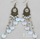 Long Style Heart Shape and Round Moon Stone Earrings