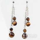 Dangle Style Round Tiger Eye Earrings with Metal Chain
