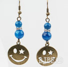 Vintage Style Round Blue Agate Earrings with Bronze Smile Face Accessories under $ 40
