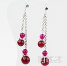 Dangle Style Rose Pink Agate Earrings with Metal Chain