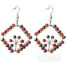 New Style Fashion Design Rhombus Shape Carnelian and Hematite Earrings under $ 40