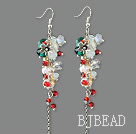 Assorted White and Red and Green Crystal Dangle Earrings