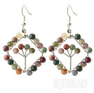 New Style Fashion Design Rhombus Shape Indian Agate Earrings