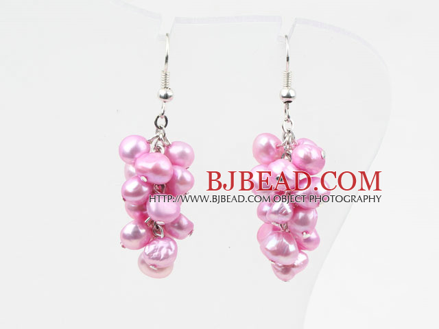 Cluster Style Dyed Pink Freshwater Pearl Earrings
